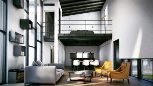 soggiorno-doppia-altezza-cucina-camera-arredamento-design